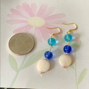 NWT glass beads & shell dangle earrings